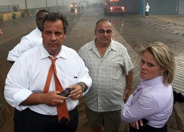 In this Sept. 12, 2013, photo, then-Deputy Chief of Staff Bridget Anne Kelly, right, stands with Gov. Chris Christie, left, during a tour of the Seaside Heights boardwalk after it was hit by a massive fire.