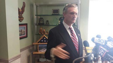 U.S. Rep. Rob Andrews addresses reporters this morning at his Haddon Heights office regarding his plans to resign later this month. (Staff Photo by Tim Hawk/South Jersey Times)