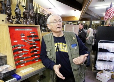 Bob Viden Sr., owner of Bob's Little Sport Shop, about gun permits at his family's shop in Glassboro, Feb. 22, 2013. Viden explains how the system has become overloaded with applications for permits. (Staff Photo by Britney Lillya/South Jersey Times)