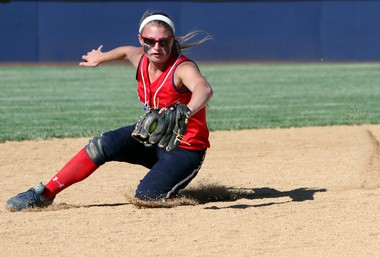 Washington Township's Jessica Hughes fields the ball during the 2013 Group IV state semifinal softball game against Hillsborough.