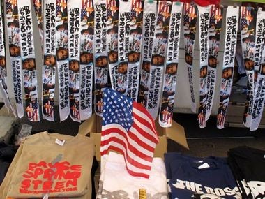 Some of the souvenirs at Bruce Springsteen's show in Milan, Italy on Monday.