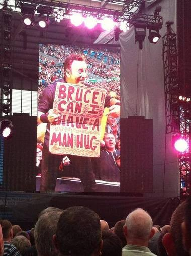 An interesting sign request for Bruce Springsteen in Coventry, England on Thursday.