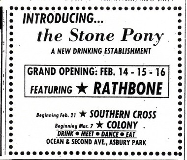 An ad for the opening of the Stone Pony, Feb. 14-16, 1974.