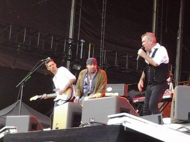 """Steve Van Zandt joins Jimmy Barnes, one of Saturday's opening acts, on """"Ride The Night Away.""""."""