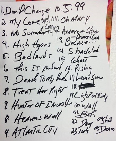 The handwritten set list from Albany. There were quite a few changes which made for a better show.