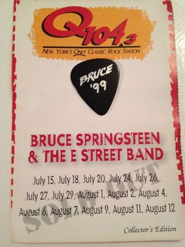 New York City radio station Q104.3 gave out these souvenir guitar picks during Bruce Springsteen's 15-show stand at the Continental Airlines Arena in 1999.
