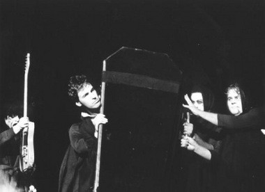 Bruce Springsteen comes out of a coffin to begin his Oct. 31, 1980 show at the Los Angeles Sports Arena.