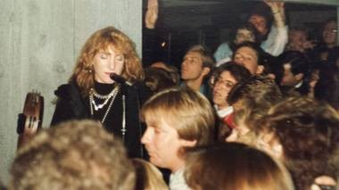 Patti Scialfa onstage at McLoone's Rum Runner in Sea Bright on Oct. 31, 1987.