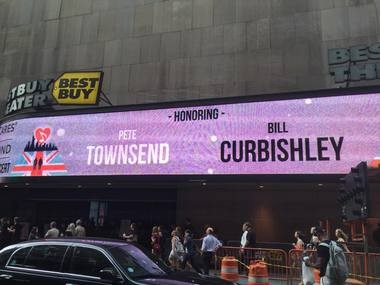 Pete Townshend may have been the man of honor but they did have trouble spelling his name on the marquee on Thursday night.