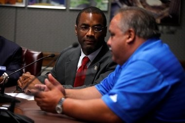 Darrin S. Sharif, Central Ward Councilman, left, listens to Luis A. Quintana, Councilman At-Large during a press conference in this file photo. Quintana may be tapped to become the next council president.