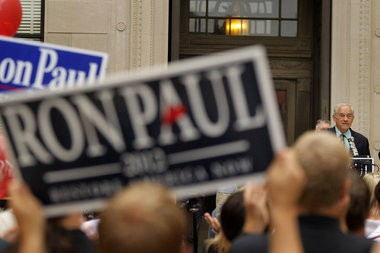 Ron Paul campaigns outside the Statehouse in Trenton in 2011. n