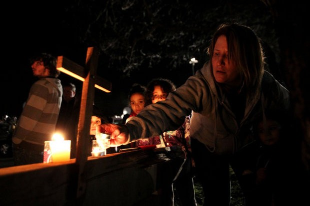 Vigil for vicitms of the Sandy Hook Elementary School shooting in Newtown, CT.