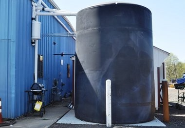 The 5,000 cistern that collects rainwater off the roof of the public works building in Clark, allowing for the green car wash.