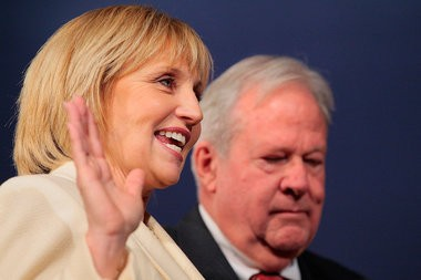 Kim Guadagno takes the oath of office for her second term last week.