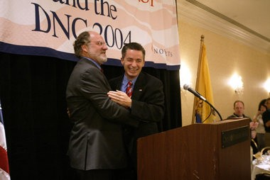 Jim McGreevey and Jon Corzine at the 2004 Democratic National Convention in Boston; both backed the COAH approach, even though McGreevey fought it when he was mayor of Woodbridge. As for Corzine, he later bought a luxury condo that was tax-abated.