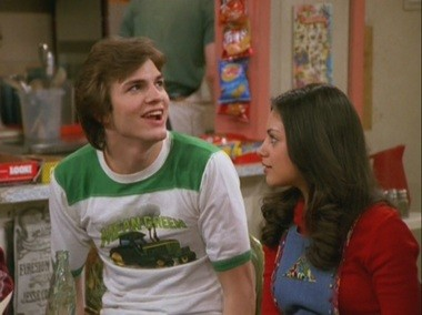 Kunis with now-fiance, then-costar Ashton Kutcher, in TV's 'That '70s Show'