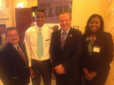 Pictured (from left) are Sal Dovi, chief operating officer, BGCUC; Justin Phillips; Senator Raymond J. Lesniak; Candace Barnes, Elizabeth Teen director, Boys and Girls Clubs of Union County.