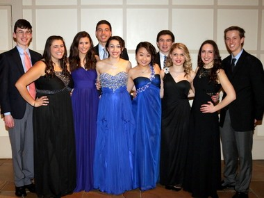 Pictured (front row, from left) are Micayla Mirabella, Ali Alexander, Emily Weissman, Katelyn Walsh, Maddie Bowen and Emma Sherry; (back row) Peter Hunziker, Peter Avila, Kevin Ruane and Mitchell Kelly