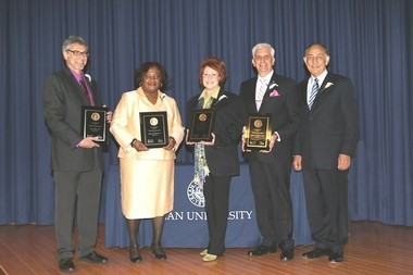 Kean University's 2014 Distinguished Alumni, (from left) are Neal M. Korn '98 MA; Patricia M. Barksdale '95; Adele M. Kenny '70; Edward A. Esposito '69 '72 MA and Kean University President Dawood Y. Farahi, Ph.D. (Photo by Patti Banks/Patrician Photography)
