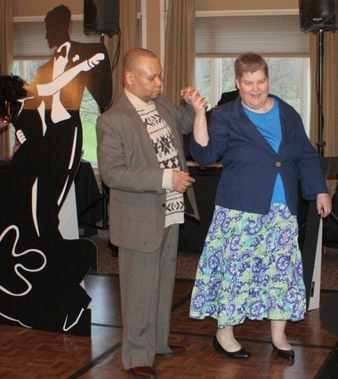 Linda Fishwick and Brian Baker, members of Community Access Unlimited (CAU), hit the dance floor at CAU's annual Couples Night for members with disabilities in meaningful relationships.