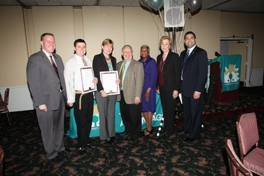 James Maccia of Scotch Plains (second from left), a member of CAU and the Employment Member of the Year, and Deirdre Guelinne (third from left), the executive director of the Westfield United Fund, are congratulated by (from left) Union County Freeholder Chairman Chris Hudak; Sid Blanchard, CAU executive director; and Union County Freeholder Vernell Wright; Union County Clerk Clerk Joanne Rajoppi; and Union County Freeholder Sergio Granados.