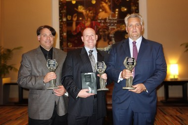 Pictured (from left) are Kenneth A. Gruskin, AIA, principal and founder of Gruskin Group; Adam Varava, Project Manager, Facilities & Campus Planning, Kean University, and Damon Paczkowski, Project Manager. Gruskin Group, received the Grand Prize at the 51st Annual New Jersey Concrete Awards, for Gruskin Group's design of the Green Lane building at Kean University.