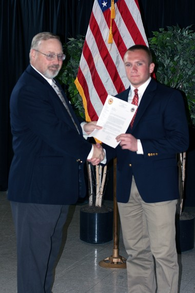 Kevin Miller, who will be entering his senior year at Westfield High School, was presented the West Point Eisenhower Leadership Award by Colonel Tony G. Smith, AUS, retired. The award recognizes the nation's outstanding high school juniors who have demonstrated exceptional performance in academics, athletics, community service, leadership, moral character and who promote the values of national service as exemplified by Dwight D. Eisenhower. The award was presented at the United States Military Academy at West Point this spring. 'I am honored to receive this award and to be recognized by the Military Academy,' stated Kevin.