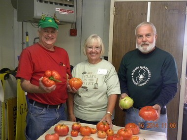 Master Gardeners James Keane (of Rahway), Laurie Westra (Cranford) and Kenny Ilgivazis (Mountainside) showed off some of the tomatoes that guests from Committee Access Unlimited (CAU, Elizabeth) took home on Saturday, Aug. 16. CAU members and staff spent the morning engaged in horticultural activities provided by the Master Gardeners in the Trailside Demonstration Gardens in the Watchung Reservation (Mountainside). (Photo by Master Gardener T.J. Karns)