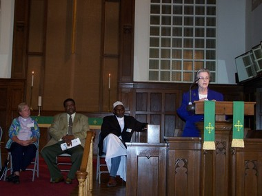 Sister Mary Carrington, vice president of missions and effectiveness at Trinitas Regional Medical Center and the Sisters of Charity of Saint Elizabeth, speaks of the Golden Rule as part of a panel discussion that also featured (seated, left to right), Rev. L.L. DuBrevil of the Faith United Church of Christ in Union, Pastor William Ingram of the Shiloh Baptist Church in Elizabeth and Imam Ali Jaaber of Masjid Darul Islam Mosque in Elizabeth. (courtesy photo)