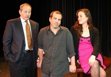 'Speed The Plow,' written by the celebrated American play write David Mamet, opens on Feb. 6 at Cranford Dramatic Club Theatre in Cranford. Pictured (from left) Jonathan Fishman, Mike Burdick and Kate Bader appear in 'Speed The Plow.' (courtesy photo)