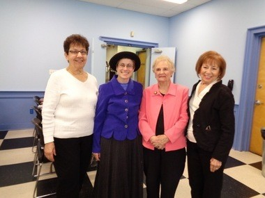 At a recent meeting of The Woman's Club of Westfield held recently at the Masonic Lodge in Westfield, guest speaker Carol Simon Levin spoke about Emilly Warren Roebling, referred to as a bridge builder in petticoats. Pictured (from left) is member, Diana Peterson; Carol Simon Levin; and members, Joan Kirner and Dolores Geisow. (courtesy photo)