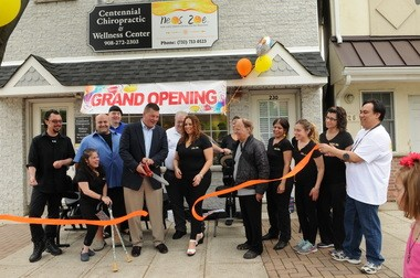 "Neos Zoe, LLC ""New Life Through Balanced Healing,"" a very unique holistic wellness company held its grand opening on May 10, at Centennial Chiropractic & Wellness Center on 230 Centennial Ave., in Cranford. Pictured at the Ribbon Cutting Ceromony are Mayor of Cranford Andis Kalnins, and owner Maryann Castello and staff. (photo credit, Cheri Rogowky)"