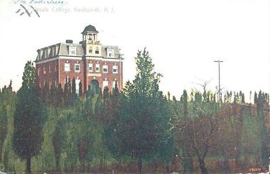 Old Main, the primary building at Upsala College when located in Kenilworth, served as headquarters for the Ku Klux Klan in the 1920s and 1930s. (Post card (1910) courtesy Walter E. Boright)