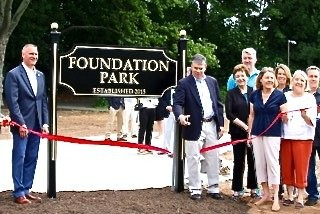 The Westfield Foundation announced the establishment of Foundation Park and held a ribbon-cutting ceremony on Saturday, June 11, 2016 with Mayor Andrew Skibitsky, members of the Town Council, the Downtown Westfield Corporation (DWC), and past and present Trustees of the Westfield Foundation in attendance. (courtesy photo)