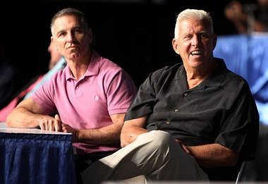 McConkey with coach Bill Parcells at a 2011 reunion of the Suber Bowl XXI championship team.