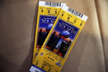 A ticket for the 2014 Super Bowl, which will not include a sales tax surcharge.