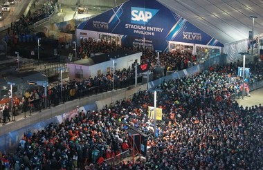 Thousands of fans wait in line for NJ Transit trains back to Secaucus after the Super Bowl wrapped up at MetLife Stadium in East Rutherford Sunday night.