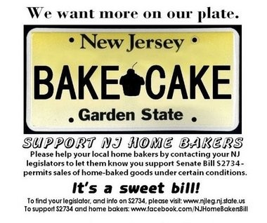 A Facebook logo urges people to contact their local legislators in support of a Senate bill that would permit the sale of home-baked goods to the public.