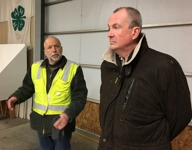 Gov. Phil Murphy, on right, with Sussex County Fairgrounds Manager Gary Larson.