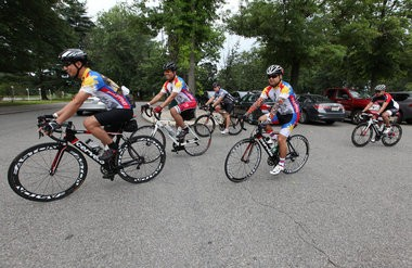 Princeton Freewheelers, riders departed from Mercer County Community College, August 3, 2013. Mary Iuvone/For The Times