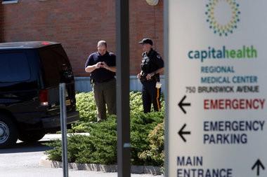 Two Police shot in Trenton - The scene outside Capital Health Regional Medical Center on Brunswick Avenue in Trenton on Thursday August 15, 2013.