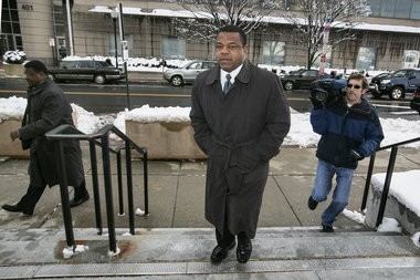 Trenton mayor Tony Mack, center and his brother Ralphiel Mack, left walk up the steps of the Clarkson S. Fisher federal courthouse on East State Street for the beginning of closing arguments in USA v. Tony Mack and Ralphiel Mack, on Tuesday, February 4, 2014. Michael Mancuso/The Times To purchase prints of this photo, visit TimesofTrenton.zenfolio.com