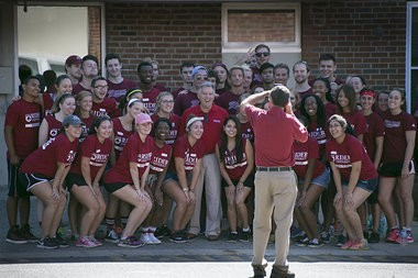 In September 2015, Rider University held new student move-in day at Rider University, welcoming a smaller freshman class than campus officials wanted. In this photo, students helping with the move in pose for a group photo with new Rider President Gregory G. Dell'Omo, center, outside Conover Hall. (Michael Mancuso | For NJ.com )