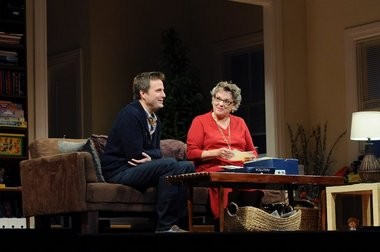"""Tyne Daly, as Katharine, makes a connection with Cal (Manoel Felciano), who was the partner of her son, Andre, at the time of his death from AIDS, in Terrence McNally's new play, """"Mothers and Sons,"""" now having its world premiere at the Bucks County Playhouse."""