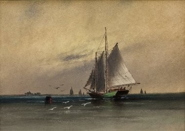 """""""Two Masted Schooner Near Tucker's Island, New Jersey,"""" a pastel drawing by William G. Russell, is part of the exhibit """"The Age of the Sail"""" at the Morven Museum and Garden in Princeton."""