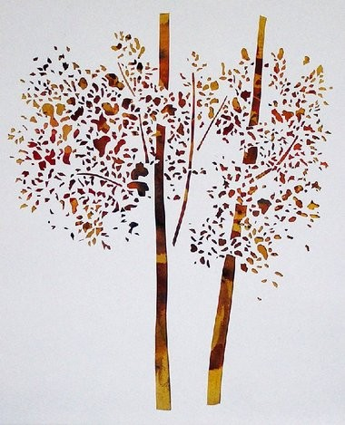 """Herb Stern's paper woodcut """"Trees of Fall"""" is part of the """"Paper Work"""" exhibit at the Trenton City Museum at Ellarslie."""