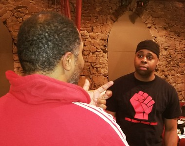 """Brandon Rubin and Jerrell L. Henderson in rehearsal for """"Caged"""" by Trenton's Passage Theatre"""