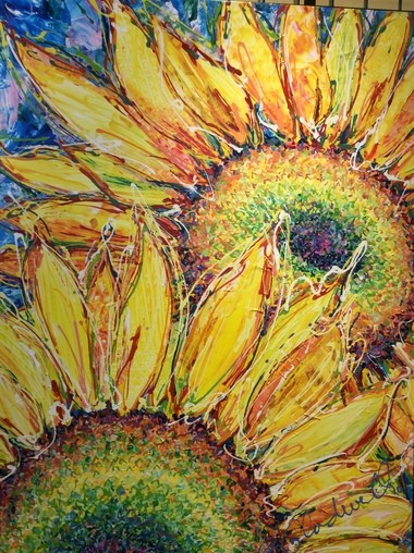 """Two Sunflowers"" by Brenda Byrne Gladwell"