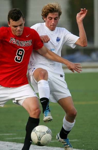 Pennington boys' soccer standout Ethan Decker, left, has committed to continuing his career at UConn in the fall.