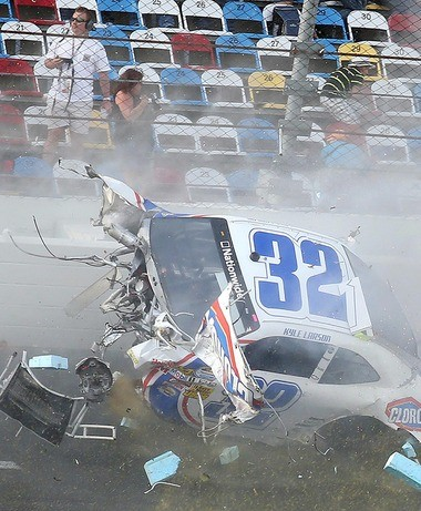 A spectacular crash involving the car of Kyle Larson (32) occurs on the last lap of the DRIVE4COPD 300 Nationwide Series race at Daytona International Speedway in Daytona Beach, Fla., Saturday, Feb. 23, 2013.
